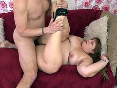 Sexy and chubby girl sucks stiff and long dick Then takes the dick in her pussy and ride it in different positions She takes cum in her mouth