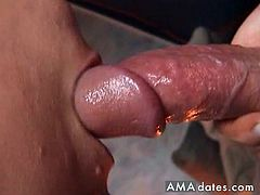 He sucks on his big hard cock deep, and then he unloads on his filthy mouth.