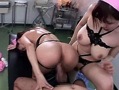 Anri Okita and her nurse friend share dick and eat cum