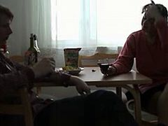 Russian mom and son fuck on bed and on kitchen table