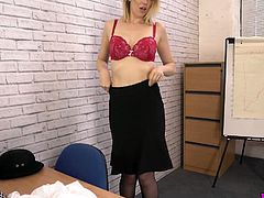 Sexy chick in uniform Hannah Z is stripping in the office