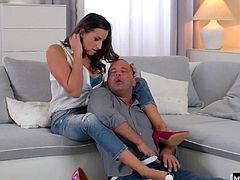 Her big tits and long legs are revealed when her hubby gets home, stripping her out of her high heels and jeans, and tossing her top aside. He worships her feet for being such a domestic goddess while he gives her every inch of his hardon