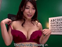 JAV legend Kaho Kasumi in one of her final films stands in the middle of a group of ogrish masturbating men as performs a stark naked striptease and shows off her body in HD with English subtitles