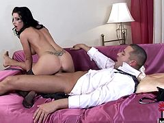 Nikki only cares about one thing and thats getting her fill of all the big, juicy cock she can She treats her boy to some saucy oral before she plunges her wet pussy down his shaft, grinding against him until he cums all over and inside her shaved slit.