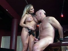 Blonde busty and super sexy babe has a dildo in her mouth that the dude, later on, uses to suck it. She gets fucked by him and he cums later on, on her sweet thick ass.