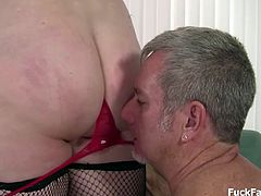 Gets titty fucked hard and deep pounding her plump wet pierced pussy as he gropes her ass and cums to her face.