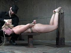 Perverted guy is punishing body and pussy of tied up bitch Samantha Rone