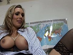 Busty teacher Tanya Tate is dildo fucking herself before a crazy quickie with her colleague