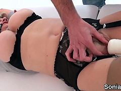 Unfaithful english milf lady sonia displays her huge knocker