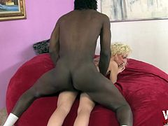 Petite blonde Alexia Sky having her pussy ruined with a black dong