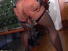 busty extreme pierced german bdsm milf slave enjoys rough breast and pussy torture