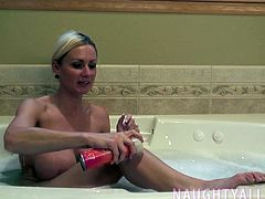 Her shave her perfect tight pussy and can't help getting off  in the process.