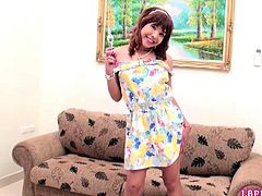 Smily Thai post-op Yumi plays with her glass toy with big knob. The cameraman is turned on and draws his hands to Yumi's goods. He squeezes her nipples for lactation and fucks her pussy bareback.