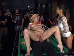 They like it rough and they prefer to fuck in public. If you have similar preferences, then do not hesitate, join us and enjoy this wild fuck in the bar, right on the billiard table.