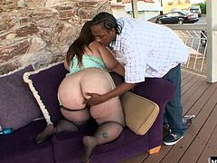 Her humongous round booty crack that hides her pussy which will get screwed by her interracial boyfriend, after she gives his king dong a blowjob. Finally, after bending over to get pounded from behind, he cums on her booty