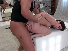 Pussy stretching fuck for a dirty whore from two guys