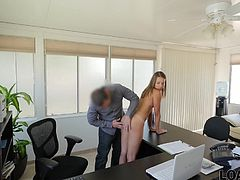 Sweet Liza wanted to go to a college trip, but she had no job since she was still a student. She had no work contract, but looks like that her credit manager didn't need any official papers. He'd prefer her body. And as a very naive person, Liza submissively let this man get her pants off, put his hot tongue between her pussy lips and started to eat it with passion. Then he put Liza on his office table and started to fuck her young body eagerly. He was totally exited with her round ass which was simply perfect...