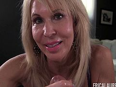 Erica Lauren enjoys making a fellow's prick stiff with her fingers