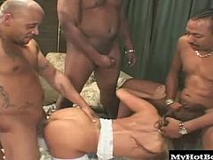 When you triple the number of cocks in the room, that means a serious gangbang for Ava, because each of these guys has the width and length of two guys. Thats almost enough to satisfy horny Ava.