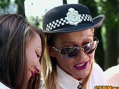 Uniformed british cops jerking sub outdoors