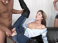 Simonys sex party is really heating up, as everyone starts to tell the action they were hoping to get out of tonights experience. The girls get out the kneepads, and put her on the floor to get her throat fucked. Thats one kind. After her jeans are ripped open at the crotch, this stud buries his boner in her pussy as he wraps his hands around her throat. Thats the other kind. What does she get Super hard orgasms, and a round of applause.