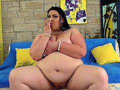 Brunette plumper gets naked and shows her juicy tits fat ass and plump pussy She rubs her pussy Then sucks a cock so good and then takes it in her pussy and get fucked good