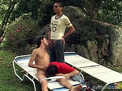 We are treated to a hot outdoor bareback threesome when Latin twinks Xavier, Leonardo and Mario get together under a big tree. Each gets a taste of the others big uncut dick, as the boys slowly gets naked. Some fingering opens the anal door and soon Mario is enjoying a big stiff dick up the ass. A daisy chain fuck follows, giving us a good look at the fine little butts on these boys. The skinny trio daisy chain fuck in a couple more positions, before the group starts filling mouths and ass with