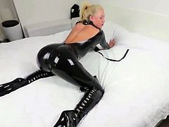 Blonde Slut In Shiny Black Latex Catsuit Fucked and Facial