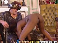 Adventurous ebony bitch has to take part in hot interracial sex because she will get citizenship more easily while also enjoying the taste of fresh meat.