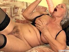 This horny granny will show off her incredible skills by eating his cock and riding.