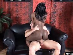 Youll be looking at the delightful chocolate beauty Jayden Hart, as she takes off her bra and begins rubbing her nipples, until theyre ready to suck. Next, shes sitting on her lovers hard cock, riding it while you watch her sexy flopping hooters bounce but eventually, he cums all over her booty