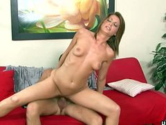 A sizzling hot blonde has a hot time as she is getting fucked by her man. He is giving it to her real nice and she loves it as he finishes on her small yet perky tits.