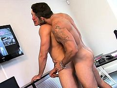 Gay couple in scenes of raw oral pleasure and deep anal job
