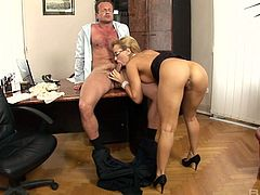 Hot secretary from Hungary Aleska Diamond is fucked right on the boss table
