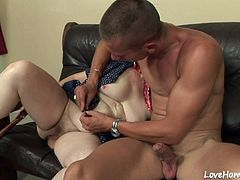 Hot granny will suck his hard pecker and ride him until he cums hard.