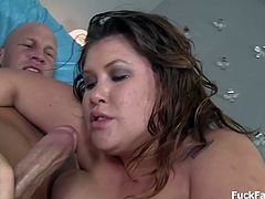 Bubbly BBW babe with gigantic boobs and fat ass gets tit fucked and rides a big hard cock in her sexy laced stockings. Watch her swallow cum with her pierced tongue as she engulps it all.