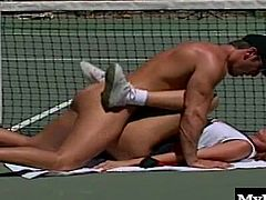 If you have never fucked a girl on a tennis court this scene will provide you with some important advice. Always make sure the girl is on bottom Tennis courts are hard surfaces and somewhat uncomfortable to lay on, by keeping the soft girl between you and the ground you will avoid any kind of soreness.