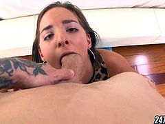 Amatuer Brunette POV Dick Sucking and Fucked