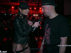 Jeny Smith goes to a sex party naked wrapped in a bondage by mymokondo and works as DJ naked