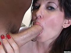 When hes on a date with his girlfriend, the buddy turns on this MILF, who lets him finger her clean shaved pussy, before he slides his dick inside, both from the front and back, showing you her bubble butt before he gives her a facial cumshot, that she swallows.