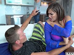 Bald headed plumber J mac fucks big tittied sex hungry housewife Cassidy Banks