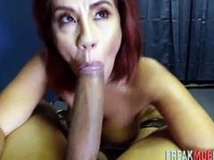 Gorgeous redhead fucked by a large cock