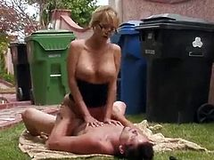 Short hair milf gets fucked by her neighbor on outdoor