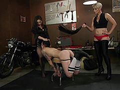 Nikki's pretty ass will be whipped and it's just the matter of time before she gets a tough punishment. Two angry bitches, two horny lesbians are waiting for their turn to smack her seducing ass. Join to enjoy hot lesbian threesome!