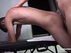 The sight of this skinny and smooth Latin twink is too much for Joris to resist and he soon has the boys uncut cock in his mouth. With the young mans cock all boned up, Joris pulls out his dick and feeds it to his patient. Dante does his best to go down on that big meat, while his doctor fingers his cock hungry hole. Once Dante has the mature man stiffened up, he takes that raw cock up his butt. The two en