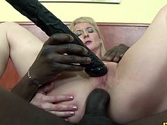 Mature women are horny too you know This one in particular is one hell of a sex freak She gets fucked up her ass by a big ass dildo and then fucked by a big black cock until theres cum all over her