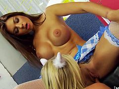 Paige Ashley comes along for the fun. Shes a blonde, but her brunette friend really knows how to find the best positions for maximum pleasure. They just might turn lesbian from the intense orgasms they keep having every time they get together like this.