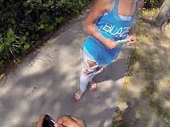 Back alley quickie with blonde teen