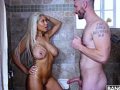 I think that it's just impossible to stand and just watch how this busty latina, Bridgette B, takes a shower. Horny guy, Mike Mancini, could not bear it, too. He burst into the shower and... Join and enjoy impetuous sex action!