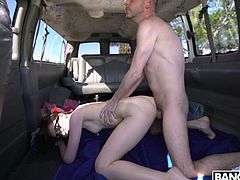 Dude picks up shy student Kelsey Kage and fucks her in the van